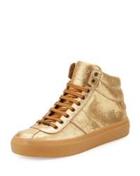 Jimmy Choo Belgravia Metallic Leather High Top Sneaker Gold