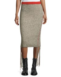 The Row Melodie Ribbed Cashmere Pencil Skirt White Red