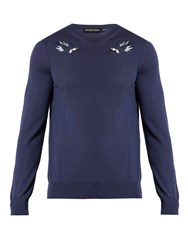 Alexander Mcqueen Hummingbird Embroidered Wool Sweater Blue
