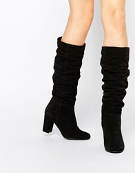 Oasis Knee High Slouch Block Heeled Boot Black