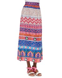 Tolani Hazel Printed Silk Long Skirt Pink