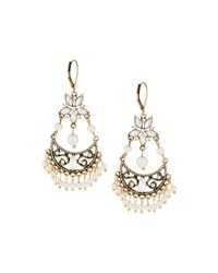 Emily And Ashley Greenbeads By Emily And Ashley Golden Crystal And Pearl Chandelier Earrings Women's