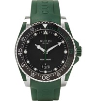 Gucci Dive 40Mm Stainless Steel And Rubber Watch Dark Green