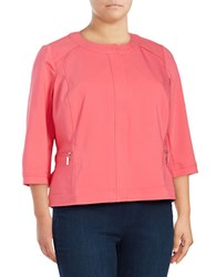 Rafaella Plus Solid Cotton Blend Jacket Pink