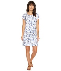 Hatley Tee Shirt Dress Washed Out Anchors Women's Dress Blue