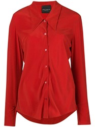 Erika Cavallini Buttoned Silk Shirt Red