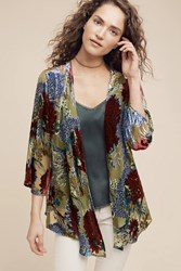 Anthropologie Kimono Velvet Big Floral Green Motif
