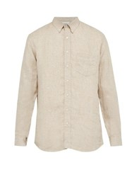 Schnayderman's Pin Check Linen Shirt Beige Multi