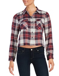 Design Lab Lord And Taylor Cropped Plaid Blouse Red