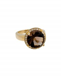 Poiray 18K Yellow Gold Round Smoky Quartz And Diamond Ring Brown