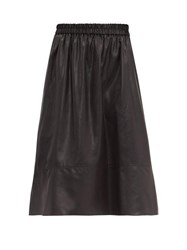 Tibi Liquid Drape Faux Leather Skirt Black