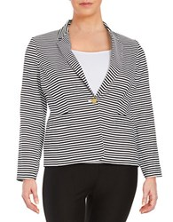 Calvin Klein Plus Striped Fashion Jacket Black White