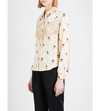 Ganni Fringed Floral And Dotted Satin Shirt Biscotti 100