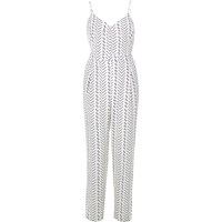 River Island Womens White Stripe Cami Jumpsuit
