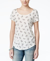 Lucky Brand Jeans Paisley Print T Shirt White
