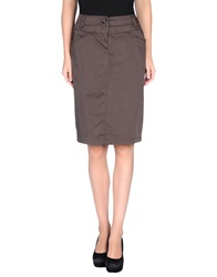Caractere Knee Length Skirts Dark Brown