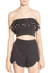 Nbd 'Baby Baby' Embellished Strapless Crop Top Black