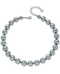 Charter Club Silver Tone Cubic Zirconia And Gray Imitation Pearl Collar Necklace Only At Macy's