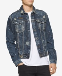 Calvin Klein Jeans Men's Gold Mine Vintage Paint Splatter Destroyed Denim Trucker Jacket Buried Ind