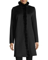 Fleurette Fur Trimmed Stand Collar Wool Coat Black Rex