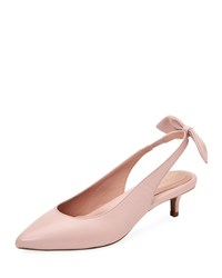 Taryn Rose Noelle Leather Slingback Pumps W Bow Light Pink