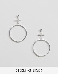 Asos Sterling Silver Bar Circle Earrings Silver