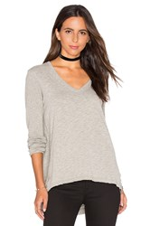Wilt V Neck Side Slit Tunic Top Gray