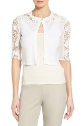 Women's Elie Tahari 'Morocco' Lace Detail Crop Cardigan