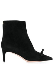 Red Valentino V Bow Ribbon Booties Black