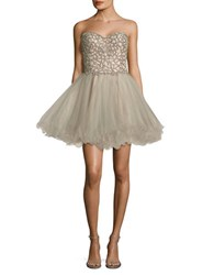 Glamour By Terani Couture Beaded Prom Dress Silver