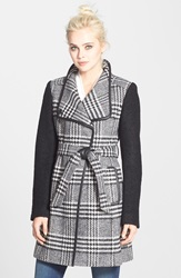 Guess Boucle Sleeve Plaid Wrap Coat Regular And Petite Black White Plaid