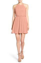 Lush Women's Blouson Chiffon Skater Dress Peaches N Cream