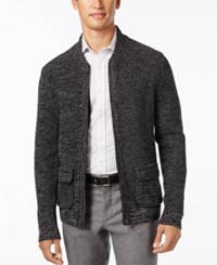 Alfani Men's Big And Tall Flap Pocket Full Zip Cardigan Only At Macy's Deep Black Combo