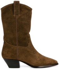 Ash Suede Western Boots Brown