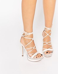 Asos Highbrow Lace Up Platforms Pale Pink
