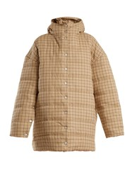 A.W.A.K.E. Checked Funnel Neck Quilted Cotton Coat Beige Multi