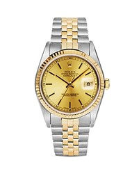 Pre Owned Rolex Stainless Steel And 18K Yellow Gold Two Tone Datejust Watch With Champagne Fluted Bezel Dial 36Mm Champagne Gold