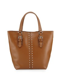 Charles Jourdan Day Studded Leather Tote Bag Tan