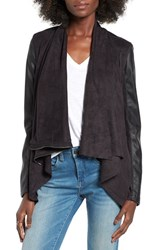 Blank Nyc Women's Blanknyc Mixed Media Faux Leather Drape Front Jacket