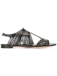 Alexander Mcqueen Laser Cut Sandals Black