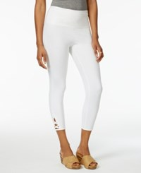 Style And Co Lattice Hem Tummy Comfort Capri Leggings Only At Macy's Bright White