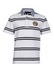 Raging Bull Big And Tall Double Stripe Crest Rugby Shirt White