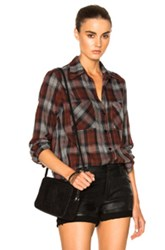 Enza Costa Hi Lo Top In Brown Checkered And Plaid Brown Checkered And Plaid