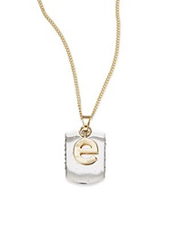 Bcbgeneration Two Tone Dog Tag Initial Pendant E Silver Gold