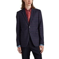 Paul Smith Kensington Plaid Wool Two Button Sportcoat Navy