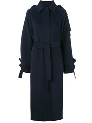 Joseph Cuff Detail Coat Women Viscose Wool Cashmere 40 Blue