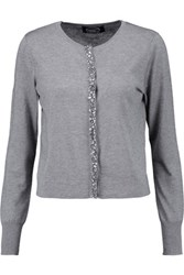 Magaschoni Embellished Silk And Cashmere Blend Cardigan Light Gray