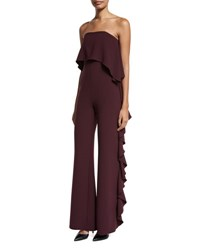 Alexis Kendall Strapless Ruffle Jumpsuit Plum