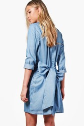 Boohoo Tie Waist Chambray Denim Dress Pale Blue