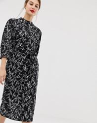 Warehouse Midi Dress With Tie Waist In Horse Print Black